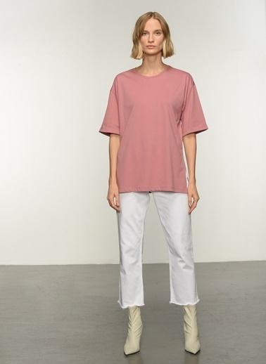 People By Fabrika PFKAW21TS0007 Oversize Yırtmaçlı Coton Tişört Gül Kurusu